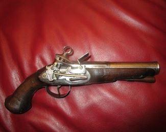 British 18 th century flint lock naval pistol with broad arrow metal stamps