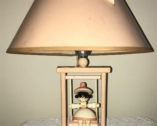 Vintage children's lamp with swinging girl