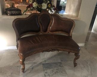 Maitman-Smith distressed leather bench