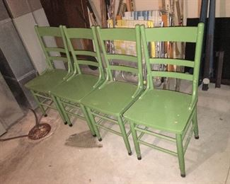 4 painted wood kitchen chairs; the table is in the garage and is still white with porcelain top