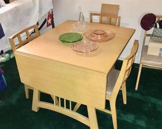 Craddock drop leaf blonde dining set including table, 4 chairs and corner china cabinet