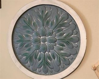 "Rustic Round floral metal wall decor-26"" across"