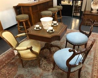 Vintage Game Table, Tiffany Co Planter, Vintage Chairs, Lyre Harp Chairs, Large Rug