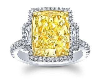 Lot 388 Fancy Yellow Diamond Ring  GIA