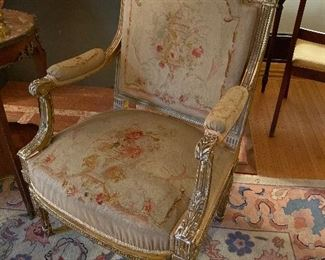 Pair of 19th c. Louis XVI Style Fauteuils w Petit Point Upholstery