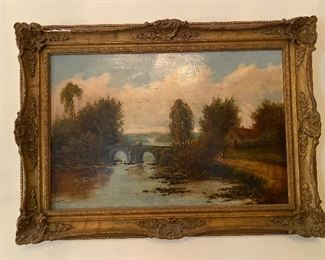 """Painting by Edwin Buttery (British, 1839-1908 titled """"Country River Landscape"""" circa 1876"""