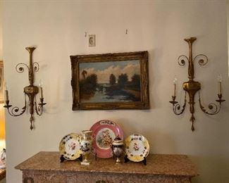 Pair of Giltwood & Metal Wall Sconces