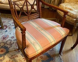 19th c. Adams Style Arm Chair w Caned Seat
