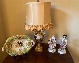 19th c. Paris Porcelain Urn Table Lamp