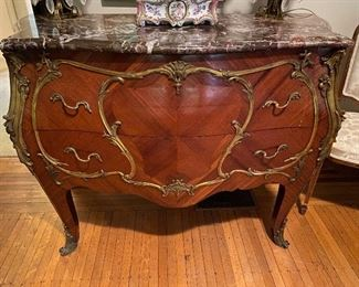 Louis XV Style Bombe Commode w Marble Top & Gilt Mounts
