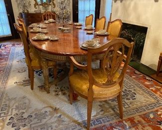 Louis XVI Dining Table w Book Matched Mahogany Top