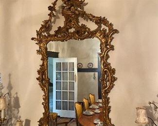 Chinese Chippendale style mirror, carved giltwood, 20th century.
