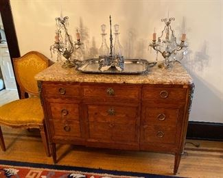 Louis XVI Style Commode w Marble Top & Musical Trophy Marquetry Inlay