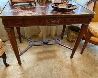 Louis XVI style table, with marble top and gilt brass mounts, circa 1900