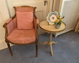 Directoire bergère armchair, carved giltwood, French, possibly late 18th century