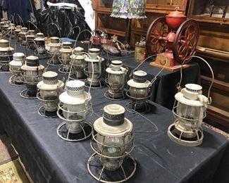 40 or so railroad lanterns