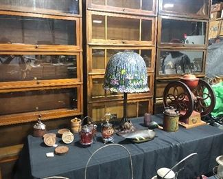 stain glass large table lamp butter molds cranberry glass