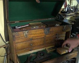 antique oak machinist chest