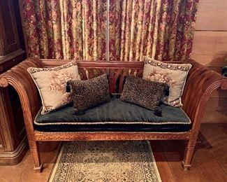 Wood slatted bench with custom upholstered velvet cushion