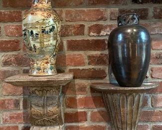 Pair, vintage Japanese Satsuma and other decorative vases along with decorative cornices