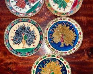 Set of 5 Greek enamel on bronze peacocks? turkeys? Coaster size.
