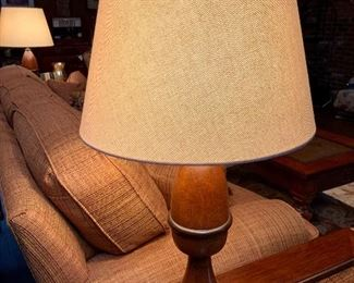 Pair; Turned Wood Lamps