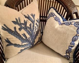 Blue and taupe Coral pillows embroidered - from Mecox in Palm Beach!