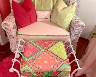 White wicker with painted iron foot rest! Custom pillows!