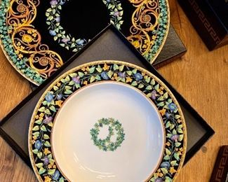 """And we have Rosenthal Versace """"Gold Ivy"""" - 2 7-piece place settings of Medusa and two place settings for Gold Ivy."""