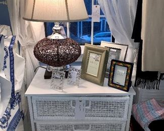 Side Tables, decor, and pair of great lamps!