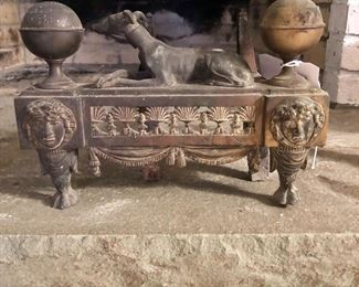 Antique French Chenet Fire Dog Pair