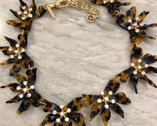 Lele Sadoughi, tortoise and rhinestone necklace