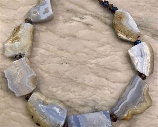 Chunky agate necklace with iridescent bead spacers