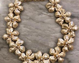 Kenneth J. Lane Flower and Rhinestone Necklace