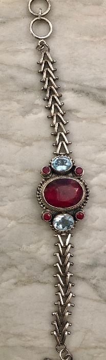 FADI India, Sterling, Natiral Ruby and blue topaz.