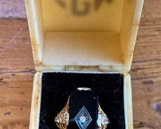 Vintage gold and onyx ring in vintage box