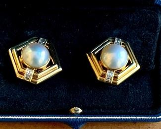 Gold with Pearl and Diamond, Clip (A.F. Betteridge- Greenwich, CT)