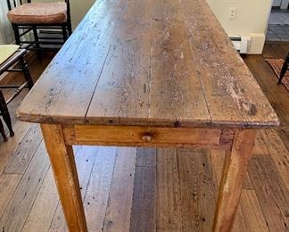 "This piece is really special! Antique French Farmhouse Dining Table: French country table   It measures 78""L x 30-3/4"" H x 30-1/2"" W. It has a long drawer at one end and  pull out bread board at the other end. It measures 18-1/2""  so you can seat 2 more (smallish:) people."