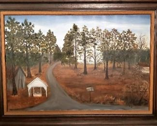 Oil Painting of the original Homestead and house