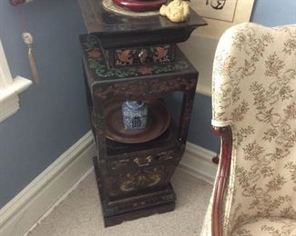Wonderful black lacquer Asian style furniture