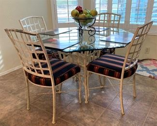 Distressed Wrought Iron & Glass Table w/ 4 Chairs30x52x52inHxWxD