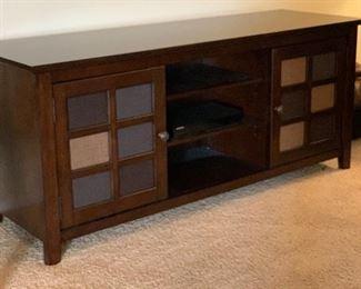 Contemporary Dark Wood Media Cabinet26x60x19inHxWxD