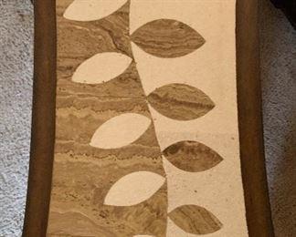 Leaf Pattern Travertine Top End Table26x24x14inHxWxD