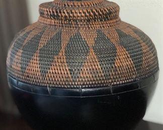 Crate & Barrel Wicker Lidded Basket