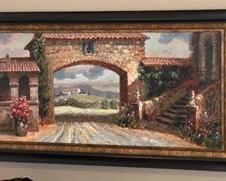 Tuscan Villa Leland Beaweu Painting32x56in