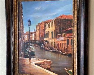 Venetian Canal Scene Art41in H x 35in W