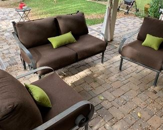 Heavy Wrought Iron Wide Scroll arm Patio Loveseat34x58x36HxWxD  Heavy Wrought Iron Wide Scroll arm Chair #144x31x36inHxWxD  Heavy Wrought Iron Wide Scroll arm Chair #244x31x36inHxWxD