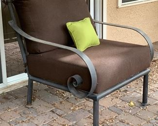 Heavy Wrought Iron Wide Scroll arm Chair #144x31x36inHxWxD