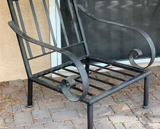 Heavy Wrought Iron Wide Scroll arm Chair #244x31x36inHxWxD