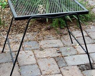 Vintage Wrought Iron Mesh Rectangular End Table #117x18x15inHxWxD